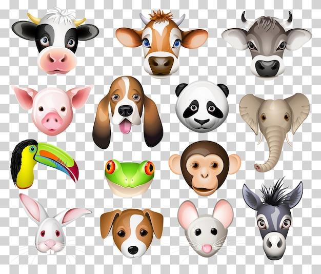 Ilustracja zestaw zwierząt kreskówek z krowa, świnia, pies basset, panda, słoń, tukan, żaba, osioł, królik, mysz i osioł