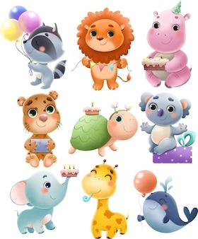 Ilustracja zestaw zwierząt