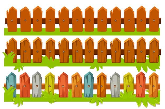 Ilustracja zestawu drewnianych ogrodzeń. brązowy i kolorowy płot z trawą.