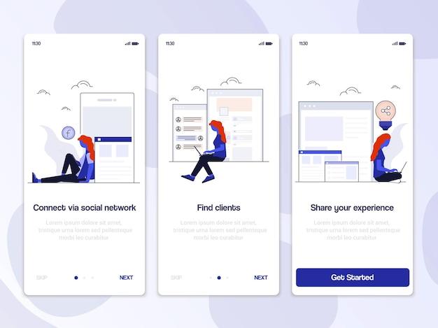 Ilustracja zestawu interfejsu użytkownika ekranów wprowadzających