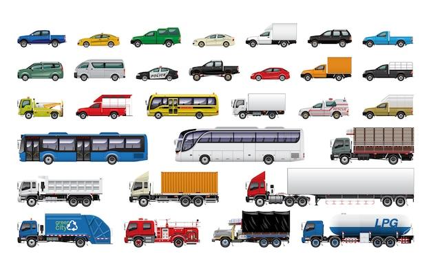 Ilustracja zestawu samochodów