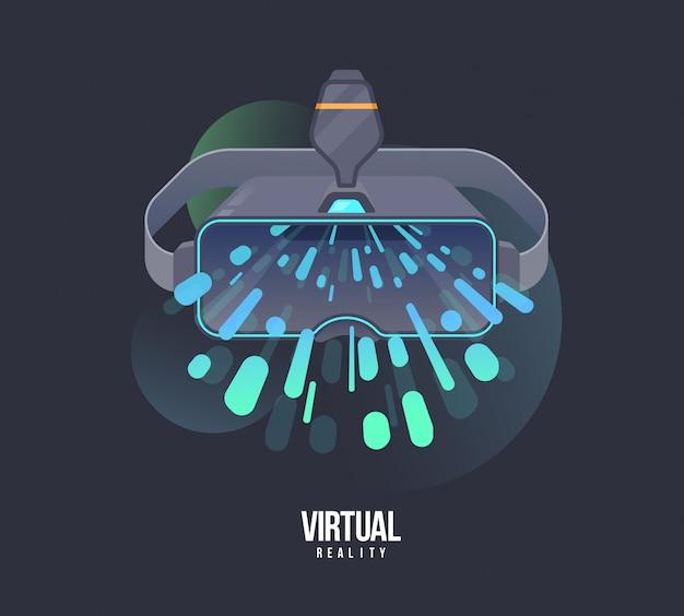 Ilustracja zestawu słuchawkowego wirtualnej rzeczywistości. wektorowa vr ilustracja z elektronicznymi szkłami. technologia cyberprzestrzeni i urządzenie do gier
