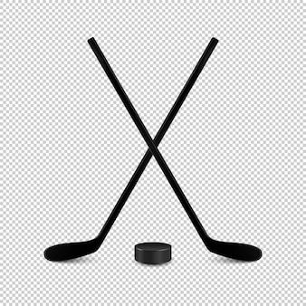 Ilustracja zestawu sportowego - dwa realistyczne skrzyżowane kije hokejowe i krążek.