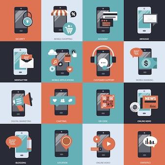 Ilustracja zestawu technologii biznesowych i zarządzania management