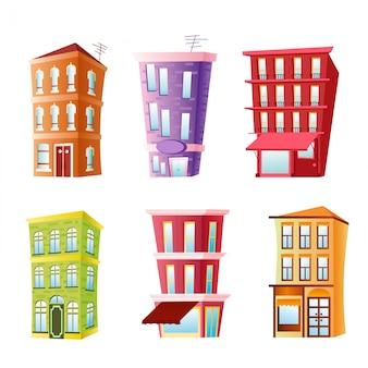 Ilustracja zestawu zabawnych budynków. kolorowe i jasne domy w stylu komiksowym płaski kreskówka na białym tle