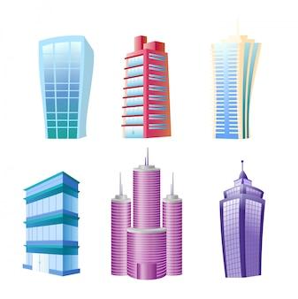 Ilustracja zestawu zabawnych nowoczesnych budynków. kolorowe i jasne domy i drapacze chmur w stylu komiksu płaskiego kreskówka na białym tle