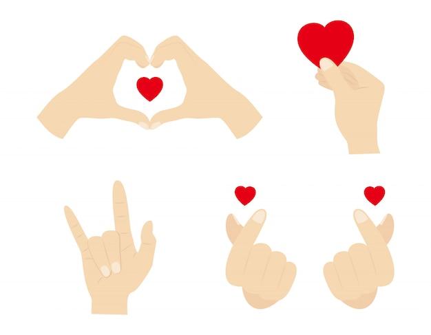 Ilustracja zestawu znak gest ręki serca