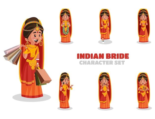 Ilustracja zestawu znaków indyjskiej panny młodej