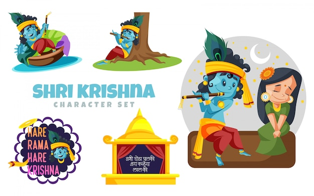 Ilustracja zestawu znaków shri krishna