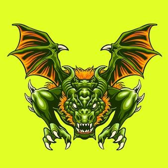 Ilustracja zielonego smoka