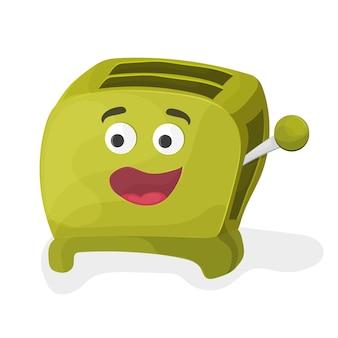 Ilustracja zielonego tostera kreskówka na białym tle