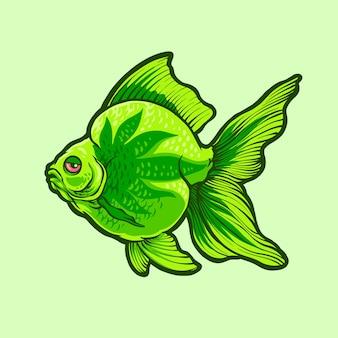 Ilustracja zielonej ryby