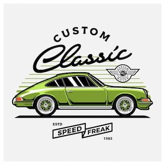 Ilustracja zielony klasyczny samochód