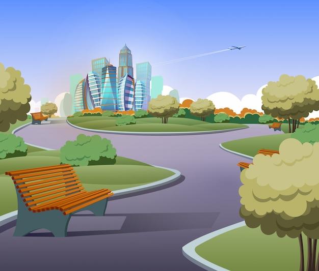 Ilustracja zielony park z drzewami, krzewami w stylu cartoon. trawnik z ławkami
