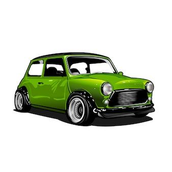 Ilustracja zielony samochód miejski