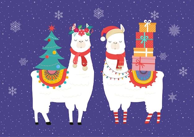Ilustracja zima lamy, ładny projekt dla przedszkola, plakat, wesołych świąt, urodzinowa kartka z życzeniami