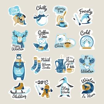 Ilustracja zima naklejki i zestaw zwrotów napis odręczny