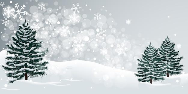 Ilustracja zima śnieg