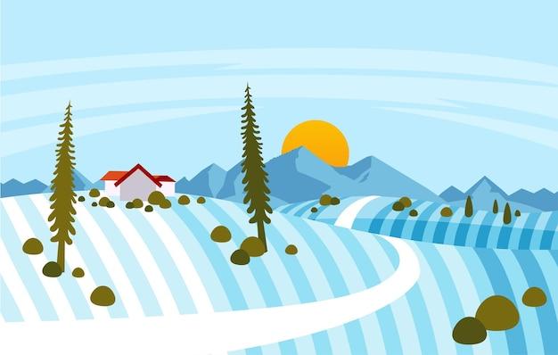 Ilustracja zimowy krajobraz w strefie podmiejskiej, z ilustracją domu i góry.