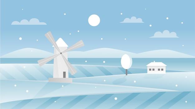 Ilustracja zimowy krajobraz