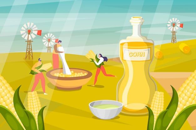 Ilustracja ziołowych kosmetyków. ludzie zbierają produkt w pojemniku. człowiek przetwarza rośliny, aby wytwarzać płyny i maski do skóry
