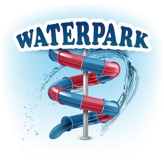 Ilustracja zjeżdżalni aquaparku w kolorach niebieskim i czerwonym