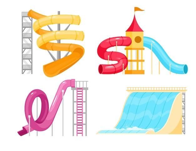Ilustracja zjeżdżalni wodnych parku rozrywki
