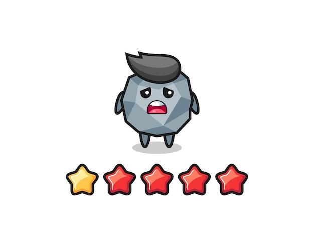 Ilustracja zła ocena klienta, kamienna urocza postać z 1 gwiazdką, ładny styl na koszulkę, naklejkę, element logo