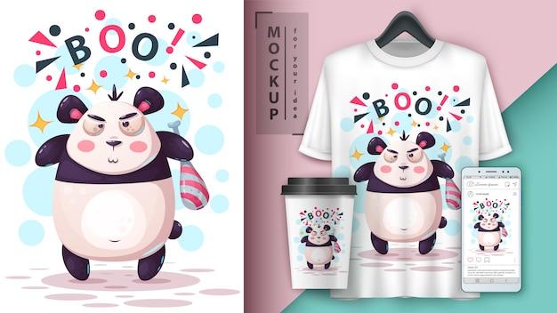 Ilustracja zła panda