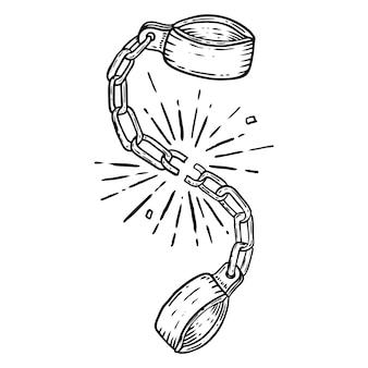 Ilustracja złamanych kajdan na białym tle. element plakatu, karty, koszulki. wizerunek