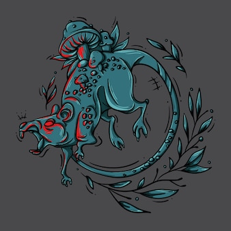 Ilustracja złego szczura porośniętego grzybami