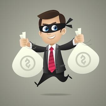 Ilustracja złodziej biznesmen trzyma torby z pieniędzmi, format eps 10
