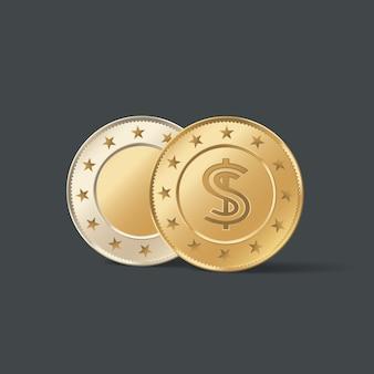 Ilustracja złota metalowa moneta