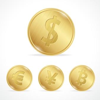 Ilustracja złota moneta bitcoin euro dolar jena. pojęcie wymiany