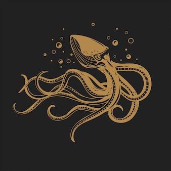 Ilustracja złota ośmiornica. owoce morza morskie zwierzęce kalmary z mackami