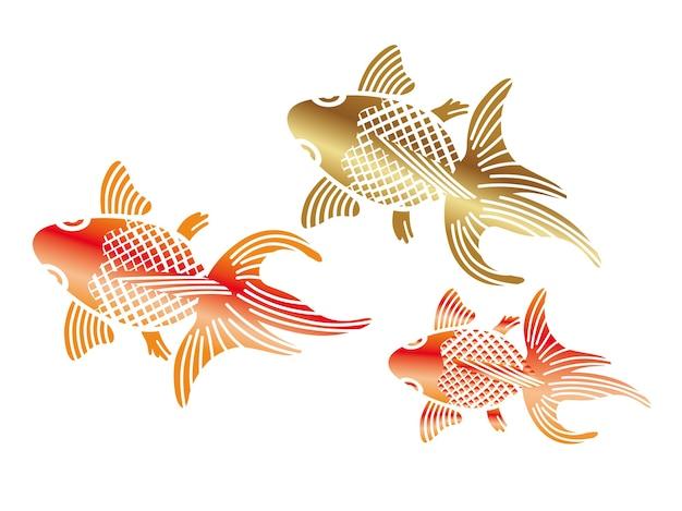 Ilustracja złota rybka w japońskim stylu vintage
