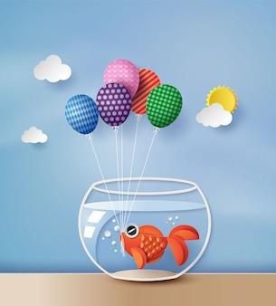 Ilustracja złota rybka z kolorowym balonem,