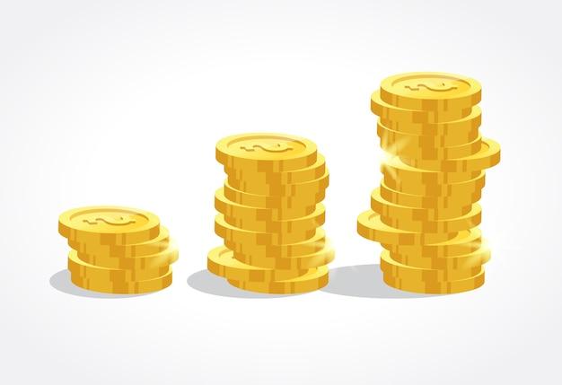 Ilustracja złote monety na białym tle