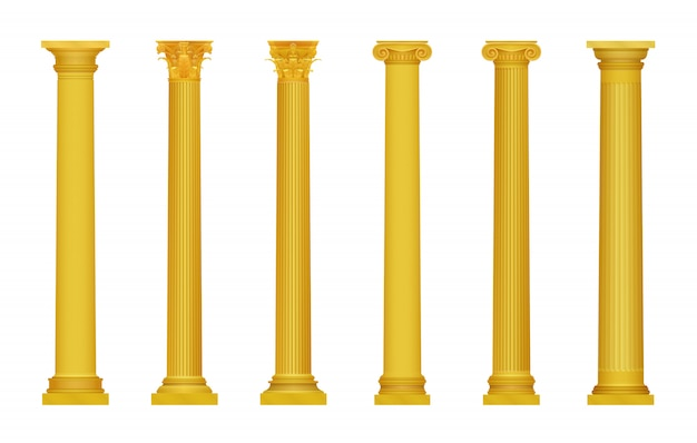 Ilustracja złote realistyczne wysokie szczegółowe greckie rzymskie starożytne kolumny. luksusowa złota kolumna.