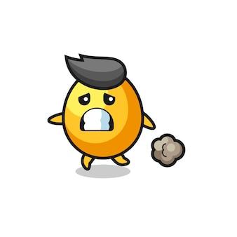 Ilustracja złotego jajka biegnącego w strachu, ładny styl na koszulkę, naklejkę, element logo