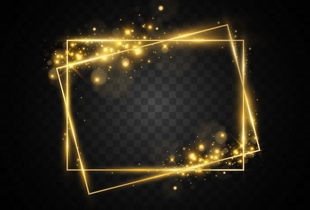 Ilustracja złotej ramie na przezroczystym tle.