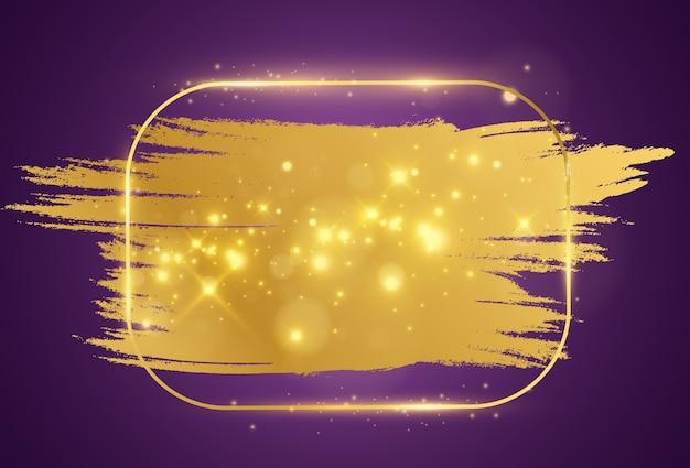 Ilustracja złotej ramie z pociągnięciem pędzla.