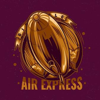 Ilustracja złoty ekspresowe powietrze