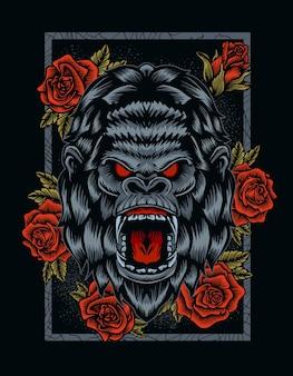 Ilustracja zły głowa goryla z kwiatem róży