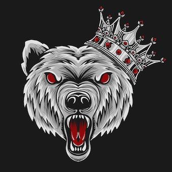 Ilustracja zły głowa niedźwiedzia z koroną króla