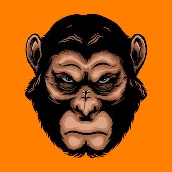 Ilustracja zły małpa