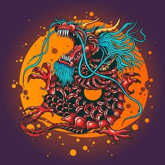 Ilustracja zły smok