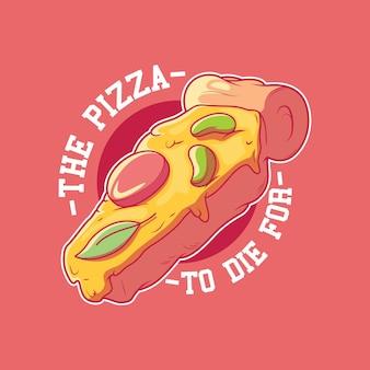 Ilustracja znaczek pizza trumna fast food marki śmieszne pojęcie