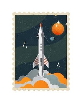 Ilustracja znaczka pocztowego vintage miejsca z rakietą