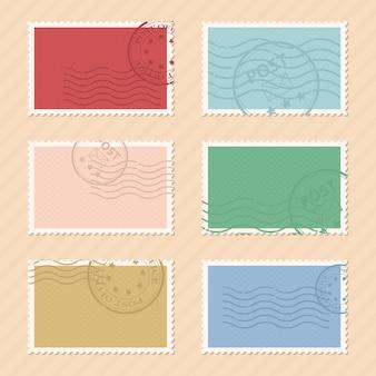 Ilustracja znaczków pocztowych na tle